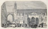 stock photo of revolutionary war  - Antique illustration of Palermo cathedral with barricade during revolutionary upraising - JPG