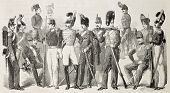 Old illustration of Neapolitan Army uniforms. Original, from drawing of Worms, was published on L'Il
