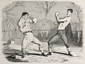Antique humorous illustration of a boxing match beginning. Original, from drawing of Benassis and Da