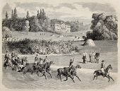 Antique illustration of a carriage in the park of Vilgenis with the castle in background. Original,