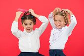 Keep Hair Braided For Tidy Look. Kids Pupils Play With Long Braided Hair. Hairdresser Salon. Hairsty poster