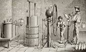 Antique illustration of a Ozouf apparatus for fizzy water production. Original, created by Javandier