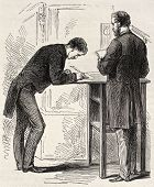 picture of stenography  - Old illustration of stenographers in French parliament - JPG