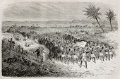 Old illustration of famous explorers Grant and Speke in Tanzania, departing with their retinue. Crea