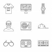Gangsta Rap Icon Set. Outline Set Of 9 Gangsta Rap Icons For Web Design Isolated On White Background poster
