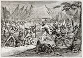 Old illustration of battle of Sempach, Switzerland, 1386. Created by Pauquet after antique print by