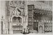 Old illustration of Margaret of Bourbon tomb in the Royal Monastery of Brou, France. Created by Matt
