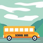 Back To School At School Bus Concept Background. Cartoon Illustration Of Back To School At School Bu poster