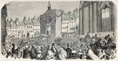 Old illustration of Boulogne-sur-mer procession. Created by Sauvageot, published on L'Illustration,