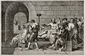 stock photo of socrates  - Socrates death old illustration - JPG