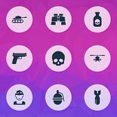 Army Icons Set With Gun, Grenade, Tank And Other Panzer Elements. Isolated  Illustration Army Icons. poster