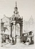 Market fountain old illustration, Mainz, Germany. Created by Girardet, published on Magasin Pittores