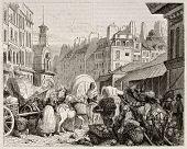 Постер, плакат: Les Halles старый вид Париж Созданный Жирарде Опубликовано Magasin Pittoresque Париж 1842