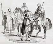 Knights Templar old illustration. Created by Miflietz, published on Magasin Pittoresque, Paris, 1844