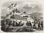 Napoleon III and Empress Eugenie arrival in Nice castle end of promenade. Created by Provost, publis