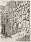 Heidelberg castle, Frederick IV pavilion old illustration. By unidentified author, published on L'Illustration, Journal Universel, Paris, 1860 poster