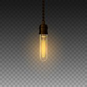 Realistic Glowing Lamp Hanging On The Wire. Incandescent Lamp. Vector poster