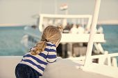 Traveling And Discovery. Childhood And Baby Care Concept. Yachting And Sailing. Boy Kid Looking On B poster