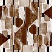 Bauhaus Pattern. Dark Brown Geometric Watercolor Abstract Seamless Print. Watercolour Stripe Backgro poster