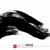 Vector Hand Drawn Ink Brush Stain. Monochrome Painted Stroke. Painted By Brush Black Stain. Monochro poster