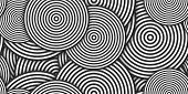 Monochrome Circles Сoncentric Polygons Backgrounds. Seamless Hypnotic Psychedelic Compositions. poster