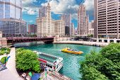 Chicago Skyline. Chicago Downtown And Chicago River With Bridges, Chicago City, Usa. poster