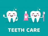 Teeth Care Concept. Healthy Smiling Tooth With Toothbrush And Toothpaste. Cute Teeth With Happy Emoj poster