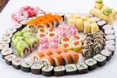 Japanese Food Restaurant, Sushi Maki Gunkan Roll Plate Or Platter Set. Sushi Set And Composition poster