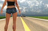 3d Illustration Of Injured Woman Walking On Highway After Trying To Escape From A Killer And Waiting poster