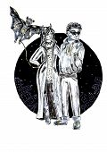 Night Magic City Guards Couple With Bat Illustration On Black Round Background poster