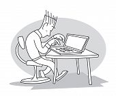 Young Man Sitting At Table And Working, Typing On His Laptop. Cartoon Vector Illustration poster