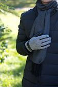 Leather Mens Gloves With Herringbone Fabric Inserts poster