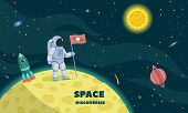 Space Discoveries Concept Background. Flat Illustration Of Space Discoveries Concept Background For  poster