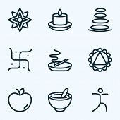 Spiritual Icons Line Style Set With Apple, Candle, Spa Stones Mandala Design Elements. Isolated Vect poster