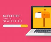 Email Subscribe, Online Newsletter Vector Template With Mailbox And Submit Button On Laptop Screen.  poster