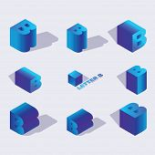 English Isometric Alphabet Font, Letter B Or Russian Letter B. 3d Effect Letters, Various Foreshorte poster