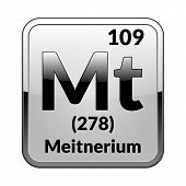 Meitnerium Symbol.chemical Element Of The Periodic Table On A Glossy White Background In A Silver Fr poster