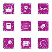 Engine Optimization Icons Set. Grunge Set Of 9 Engine Optimization Vector Icons For Web Isolated On  poster