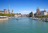 stock photo of zurich  - Limmat river and famous Zurich churches - JPG