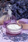 Natural Healthy Aromatherapy And Skin Treatment With Organic French Lavender, Lavender Soap, Face Cr poster