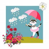 Cute Kitty With Pink Umbrella. Greeting Card, Baby Shower Invitation, Vector Summer Design. poster