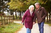 Active Senior Couple On Autumn Walk On Path Through Countryside poster