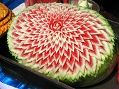 stock photo of thai food  - intricately carved thai style melon - JPG