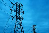 stock photo of power lines  - detail shot of a metal tower of Power Lines - JPG
