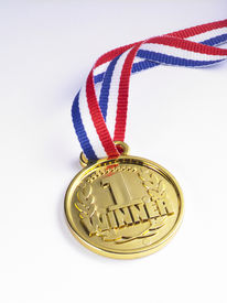 pic of gold medal  - gold medal with ribbon on the white background - JPG