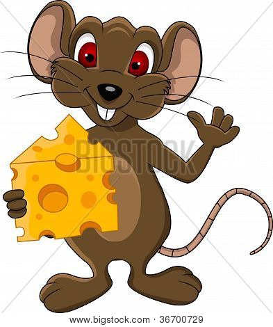 cute mouse cartoon with cheese