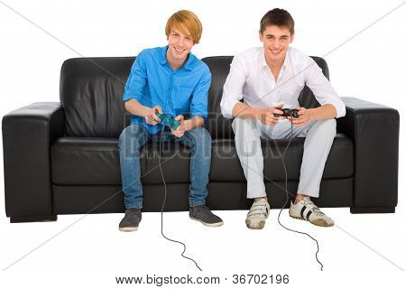 Teenagers Playing With Playstation