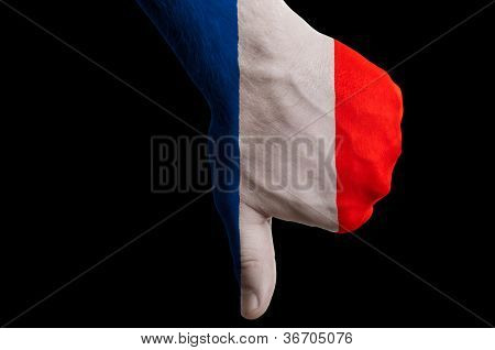 France National Flag Thumb Down Gesture For Failure Made With Hand
