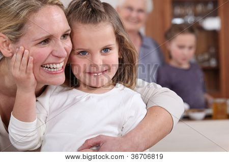 Loving family gathering
