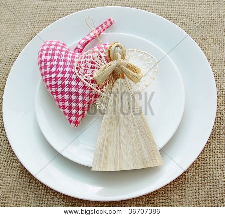 Romantic Serving Of Festive Table With A Handmade Decoration Angel